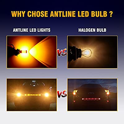 ANTLINE Newest 1157 LED Bulb Amber Yellow (2 Pack), 9-30V Super Bright 1600 Lumens 2057 2357 7528 BAY15D 52-SMD LED Lamps with Projector for Replacement, Work as Turn Signal Blinker Side Marker Lights: Automotive