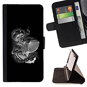 For Samsung Galaxy S3 Mini I8190Samsung Galaxy S3 Mini I8190 Black Accordion Player Skull Cowboy Beautiful Print Wallet Leather Case Cover With Credit Card Slots And Stand Function