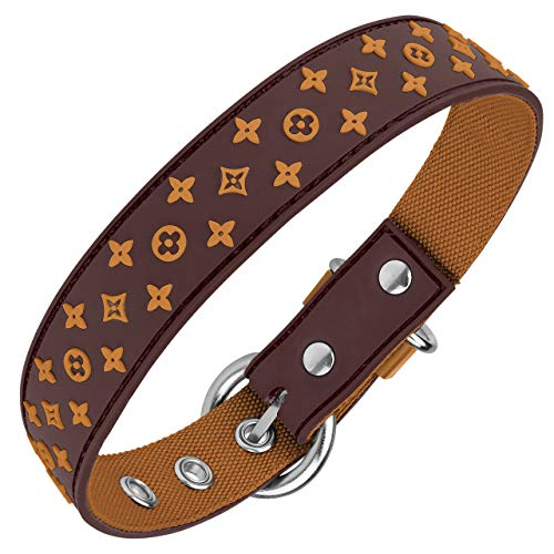 Lushpetz Designer Brown Waterproof Dog Collar Also in Pink Black White Red for XSmall Small Med (Small, Brown)
