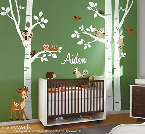 Forest Birch Trees and Forest Animals Wall Decal for Nursery Forest Animals Wall Decal Sticker & Amazon.com: Forest Birch Trees and Forest Animals Wall Decal for ...