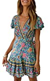 ZESICA-Womens-Summer-Wrap-V-Neck-Bohemian-Floral-Print-Ruffle-Swing-A-Line-Beach-Mini-Dress-Green