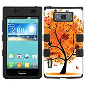 One Tough Shield ? Flexible/Rigid Hybrid Phone Case for LG Optimus Showtime L86C / L86G and Straight Talk LG Optimus Ultimate L96G - (Golden Tree)