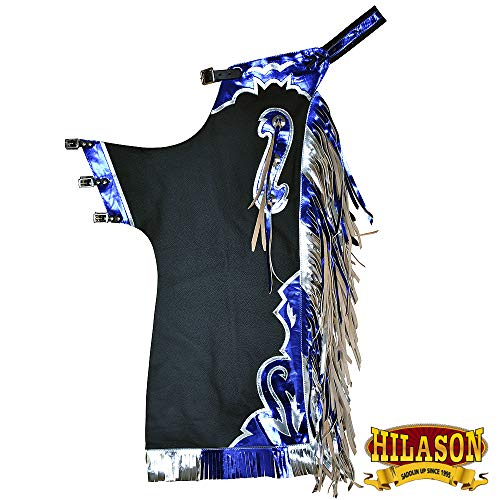 (HILASON Bull Riding Pro Rodeo Chaps Black Smooth Leather Bronc Show Adult)