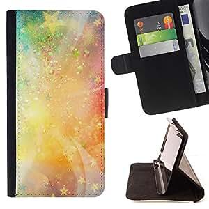 BullDog Case - FOR/Sony Xperia m55w Z3 Compact Mini / - / stars universe neon light galaxy painting /- Monedero de cuero de la PU Llevar cubierta de la caja con el ID Credit Card Slots Flip funda de cuer