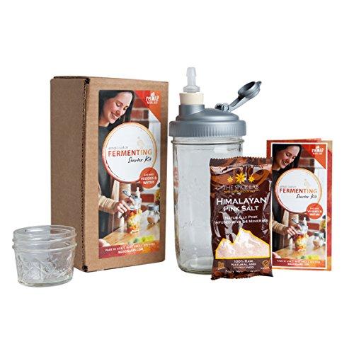 reCAP Mason Jars Fermentation Starter Kit: Waterless Airlock, Himalayan Pink Salt, Weight,...
