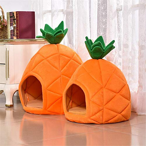LLYWCM Pineapple Kennel Cat Litter Comfortable Pet Nest Bed Dog House Dome Tent Warm Cushion Basket(L)