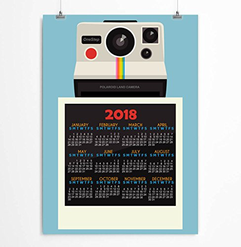 2018 Calendar Polaroid Calendar Orange Blue Gray paper calendar Office Stationery Giclee print 11x14, 12x16, 13x19 inches - Unframed by LineDots