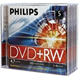 Philips DW4S4J05F/17 4.7GB 4x DVD+RW with Jewel Cases, 5 pk (PhilipsDW4S4J05F/17 )