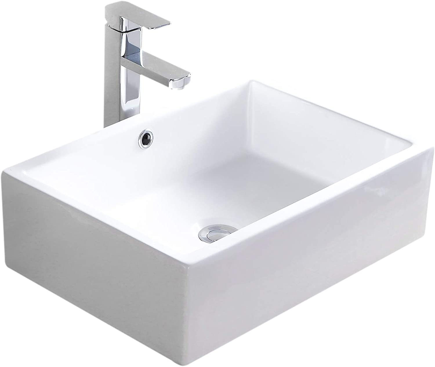 Mecor 20 X14 5 Rectangle Bathroom Ceramic Vessel Sink Basin White Vanity Sink With Pop Up Drain Amazon Com