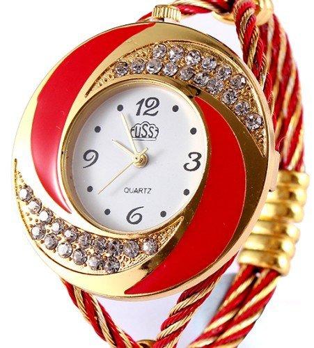 2015 Nueva moda reloj pulsera elegante para las mujeres vestido reloj Negro Rhinestone Reloj en -