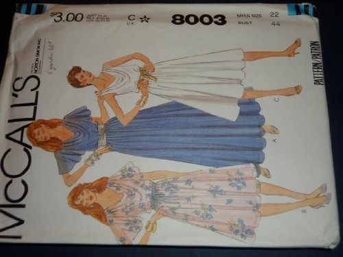 Bodice Slip (Mccalls 8003 Sewing Pattern for Bias Bodice Front Draped Flutter Sleeve or Sleeveless Dress or Evening Gown, & Slip)