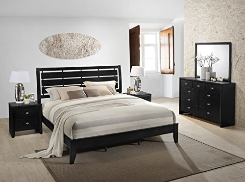 Gloria Black Finish Wood Bed Room Set, King Bed, Dresser, Mirror, 2 Night Stands