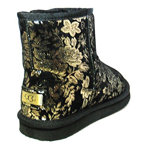 Damen Boots Winterfellstiefel Schlupfstiefel gefütterte Schuhe Schwarz Gold 36-42