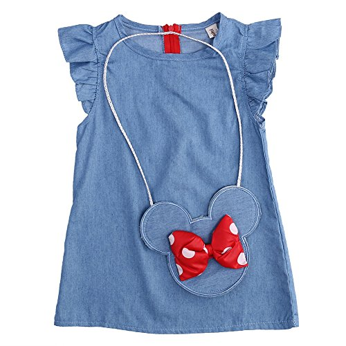 Baby Girls Cute Flying Sleeve Denim Dress with Bow Mouse Purse (Blue, 1-2T)