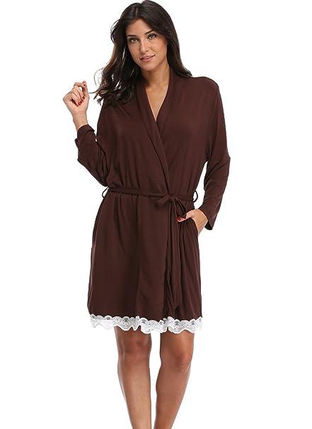 Women s Cotton Kimono Robes Soft Lightweight Bathrobe with Lace Trim Coffee  S 74c414f06