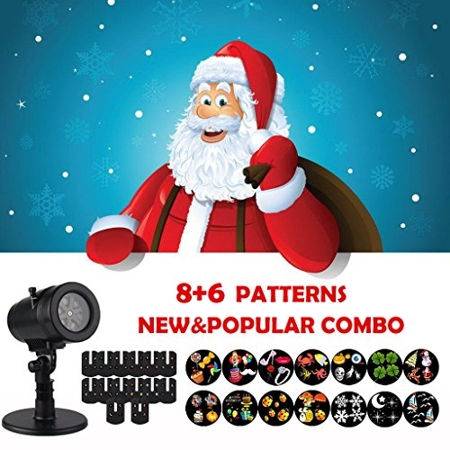 Christmas Projector Lights,Holiday Light Projector with 14 Patterns LED Image Projector Snowflakes Spotlights Waterproof Lights for Valentine's Day Xmas Birthday House Wall Landscape Decoration