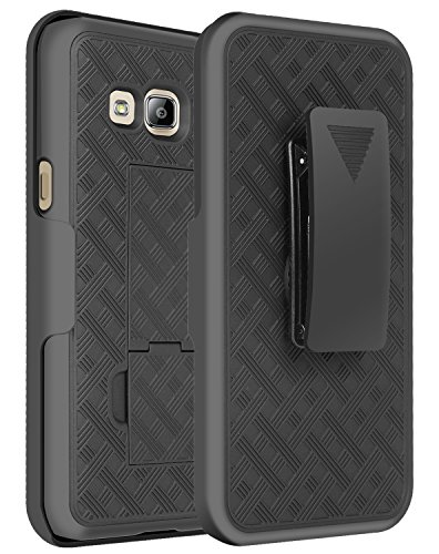 Galaxy J3 Case, Galaxy J3 Holster Case, SGM® Shell Holster Combo Protective Case with Belt Clip Holster For Samsung Galaxy J3 + SGM® Microfiber Cleaning - New Jersey Port New Mall