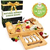 Bamboo Cheese Board Set with Cheese Knife Drawer, Ceramic Bowls, Serving Forks, Cheese Knives - Premium Charcuterie Board Makes Perfect Birthday, Wedding, Housewarming Gift, Large 15 x 12-inch (The Fe