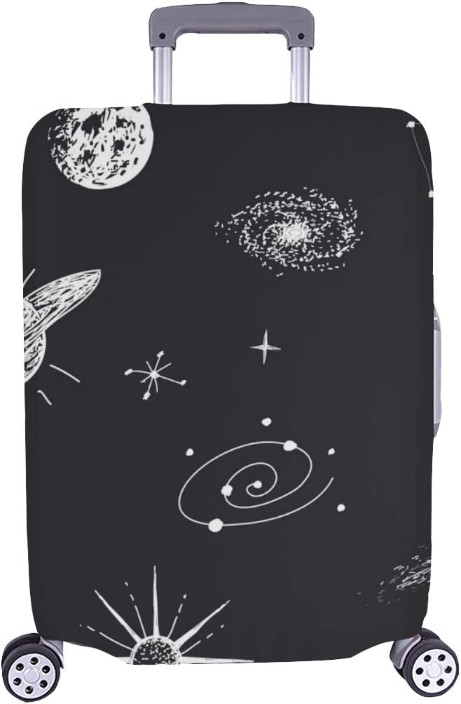Universe Galaxyplanetsstarsconstellation Hand Drawn Spandex Trolley Case Travel Luggage Protector Suitcase Cover 28.5 X 20.5 Inch