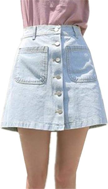 Falda para Mujer Fit Slim Mini Falda Un Solo Pecho Especial Estilo ...