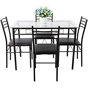 Amazoncom5 Piece Glass Dining Table Set 4 Leather Chairs
