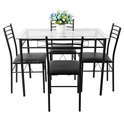 VECELO Dining Table with 4 Chairs Black (Dining Set)
