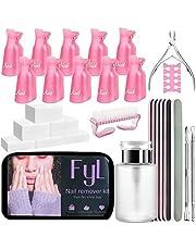 Nail Remover Tools Kit FYL Nail Clips, 100ml Nail Polish Remover Bottle, 500 Nail Remover Cotton Pad,Nail Brush,Cuticle Pusher,Cuticle Peeler,Buffer Block 100/180 Nail File