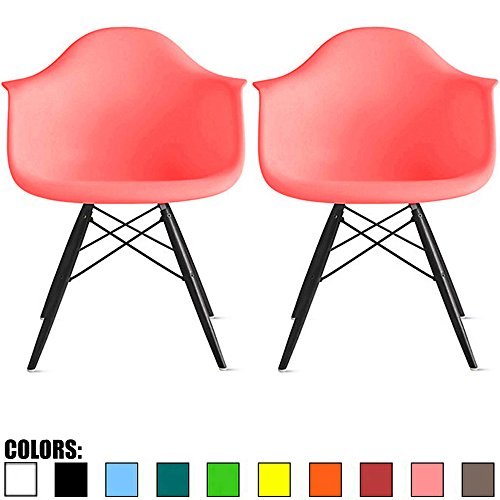 2xhome Set of 2 Pink Mid Century Modern Designer Contemporary Vintage Office Chairs Dining No Wheels Living Kitchen Guest With Arms Armchairs Solid Back Accent Plastic Dark Black Wood Wooden ()