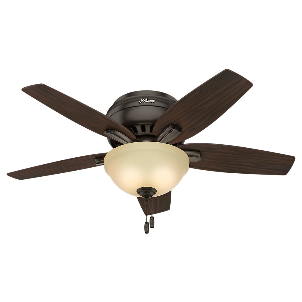 Hunter Indoor Low Profile Ceiling Fan with light and pull chain control – Bowl 42 inch, Premier Bronze, 51081