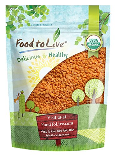 Red Lentil Beans - Organic Red Split Lentils by Food to Live (Dry Beans, Non-GMO, Kosher, Raw, Masoor Dal, Bulk) - 1 Pound
