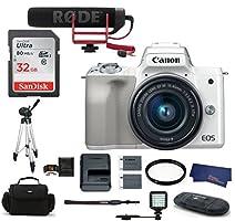Canon EOS M50 Digital Camera (15-45mm Video Creator Kit + LED Light, White)