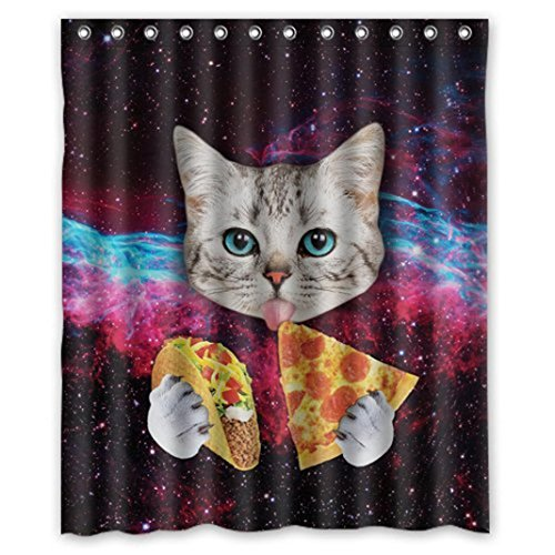 Iusun Custom Waterproof Bathroom Space Nebula Universe Cat Eat Pizza Shower Curtain Polyester Fabric Shower Curtain Size 66 X 72 Inch (H, 66x72inch)
