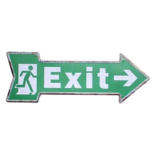 Hosaire 1x Cartel de Estaño Forma de Flecha Exit Diseño,Placa de Arte Pintura de estaño,Decoración Bar Café Vintage Pub 45x16cm