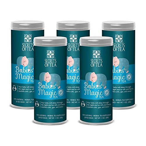 Secrets of Tea Baby Colic Babies' Magic Tea - Organic, Natural, Safe - Calming & Soothing Relief for Baby Acid Reflux, Gas, Colic - Your Baby Will Sleep Thru The Night Guaranteed - 5 Pack