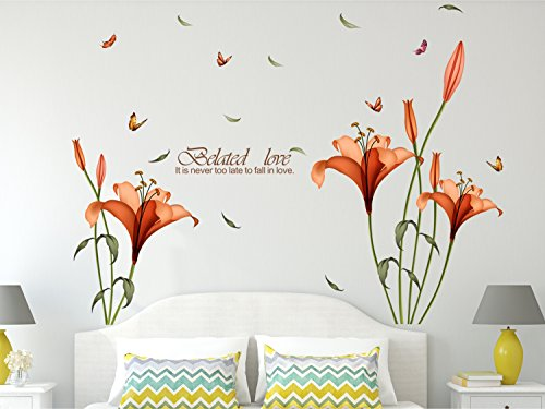 Amazon Brand – Solimo Wall Sticker for Bedroom (Blooming Lilies, ideal size on wall , 175 cm X 120 cm),Multicolor