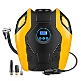 Portable Air Compressor Pump,WEKSI Digital Tire Inflator,12V DC 150 PSI Tire Pump for Car,SUV,Motorcycle,Bicycle,Sports balls,Air mattresses and Other Inflatables(Yellow)