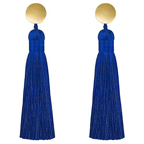Tassel Dangle Drop Earrings for Women Royal Blue Tassel Earrings For Party Prom ()