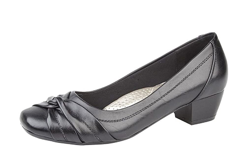b09fd1a01169 Boulevard Womens Ladies Leather Lined Comfortable Ultra Padded Insole Black  Low Heel Court Shoes  Amazon.co.uk  Shoes   Bags