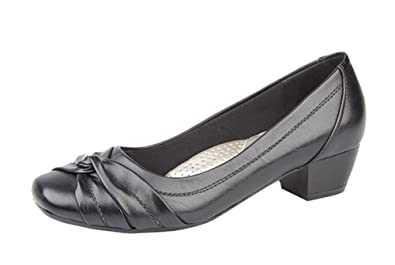 4eb4479885a2 Womens Ladies Leather Lined Comfortable Black Low Heel Court Shoes Size 3