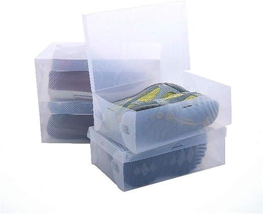 XZDXR Caja De Almacenamiento De Zapatos, 20 Piezas De Caja De Zapatos De Plástico Transparente Grueso Plegable Plegable Simple Cubierta De Polvo Flip Caja De Zapatos A Prueba De Humedad: Amazon.es: Hogar