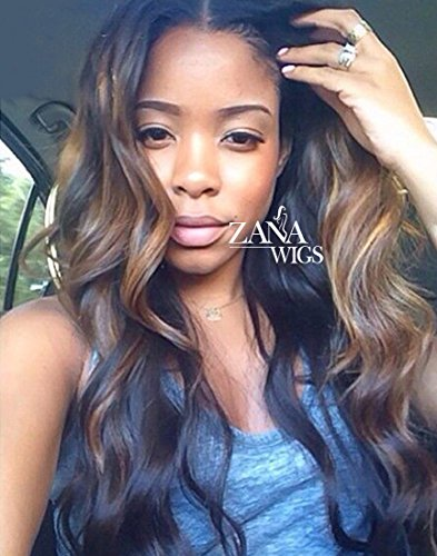 ZANA Brazilian Virgin Remy Hair Lace Front Wigs with Baby Hair Body Wave Glueless Human Hair Wigs for Black Women Ombre Color (Wig Human Hair Ombre)
