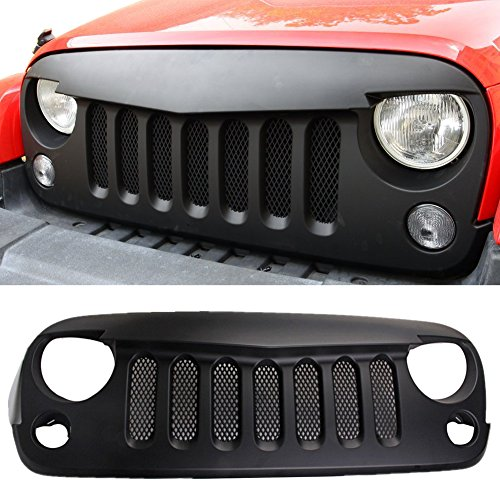 Santu Black Front Grill Angry Bird (With Mesh) Shell Replacement fits 2007-2017 Jeep Wrangler JK