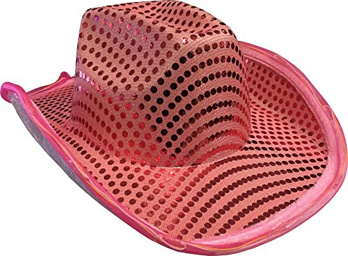 (Block Buster Costumes Adults Light Up Sequin Pink Urban Cowboy Hat Costume Accessory)