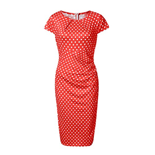 AIEason Ladies Long Dress Womens Dot Printing Short Sleeve Round Neck Sashes Dress