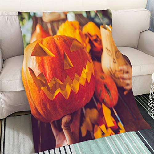 Weave Pattern Printed Multicolor Custom Design Man Carving Spooky face on a Pumpkin in Halloween Hypoallergenic Blanket for Bed Couch Chair -