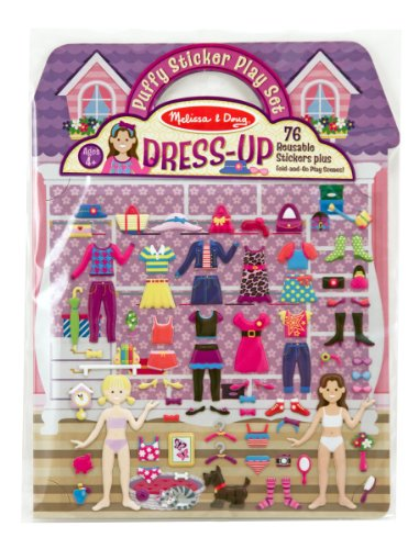 Melissa & Doug Puffy Sticker Play Set, Dress-up (Reusable Activity Book, 76 Stickers, Great for - Car Lane Memory