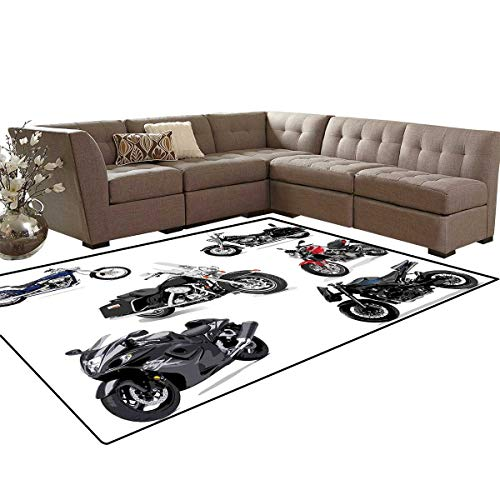 - Motorcycle Bath Mats Carpet Unique Original Motorcycles Set Freestyle Action Life with Winged Wheels Hobby Print Girls Rooms Kids Rooms Nursery Decor Mats 5'x8' Multi