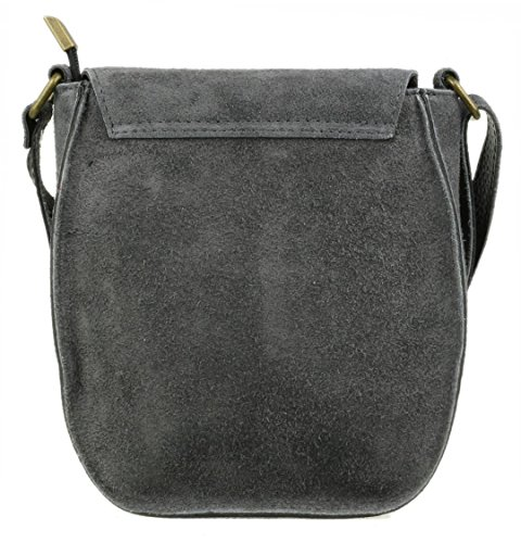 Oval Grey Girly Genuine Bag Flap Dark Shoulder Handbags Suede 6wqSUBw
