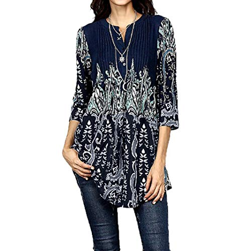 Hot Women Tops Daoroka 3/4 Sleeve Floral Circular Neck Casual Fashion Autumn Shirt -
