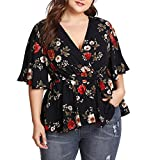 Women Printed Bandage Top,Summer Casual Deep V Neck Large Code Loose T Shirt Blouse (XL, Red)